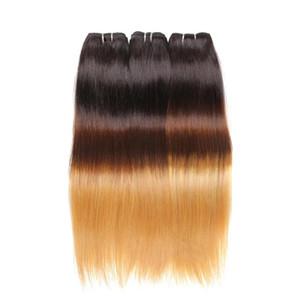 Ombre Saç Uzantıları Düz Üç Kahverengi Sarışın 1B 4 27 Ombre Brezilyalı Düz İnsan Saç Dokuma Paketler 3 ADET Lot