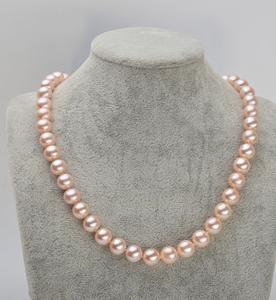 9-10mm rotonda Pink Pearl Necklace 18inch Naturale Collane di perline XL136- 2910
