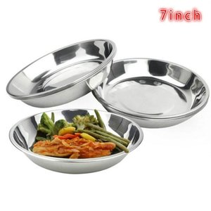 Camping 17.8cm Dia Stainless Steel Tableware Dinner Plate Food Container (Color: Silver)