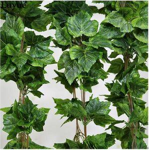 30 PCS como real de seda Artificial folha de uva garland faux videira Ivy Indoor / outdoor home decor flor do casamento verde presente de natal