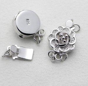 Heißer Verkauf 925 silberne doppelte Reihe Pflaumenblütenform-Perlenhalskettenarmbandverbindungsschnalle YPJ3