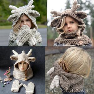 Baby Winter Christmas Alk Hat Sciarpa + Guanti 2 pezzi Kids Cartoon Deer Knitted Warmer Guanti per bambini 2-9T