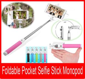 Faltbare Tasche Selfie Stick Einbeinstativ Mini tragbare ausziehbare Kamera Handheld Einbeinstativ Stick Wired Selfie Stick mit Remote Shutter Button
