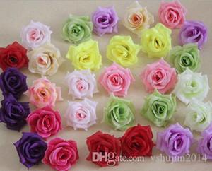 Cabezas de flores de rosa rosa 100 unids flores falsas Camellia Peony Dia 7-8 cm DIY ramo de novia Centros de mesa de boda Artificial flores decorativas