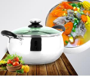 18 cm Estofado de cocina Olla de acero inoxidable Cocina de inducción Utensilios de cocina Sopa de ollas Espesar Doble capa inferior Olla