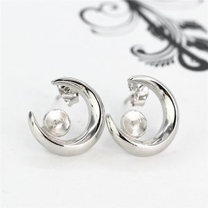 925 Sterling Silver Semi Mount Boucles D'oreilles Plaqué Or Blanc pour 8-9mm Perle ou Perle Ronde Fine Jewelry Setting DIY Pierre