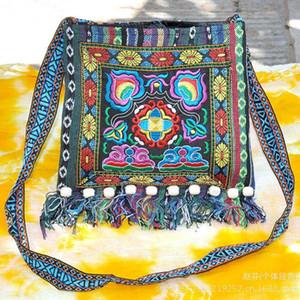 Atacado-Novo Vintage Boho Hobo Hmong Étnico Bordado Shoppers Bag Bolsa de Ombro das Mulheres Bordadas Bolsa LH8
