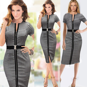 2016 Womens Belt Check Front Zipper Slit Tunic Wear To Work Dresses Business Casual Party Pencil Bodycon Knee Length Sheath Dress Plus size