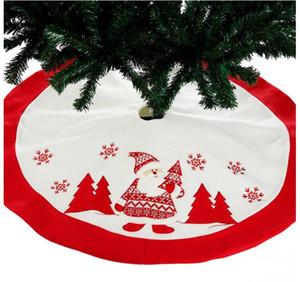 90cm 레드 수 놓은 트리 스커트 앞치마 크리스마스 장식 새 해 홈 나 탈 Navidad 장식품 고품질 자 수 산타