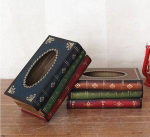 Retro tissue box European antique wooden paper box simulation of books crafts large napkin box book shape handkerchief case
