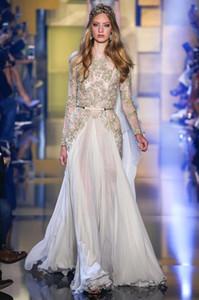 2016 Elie Saab Dresses 섹시한 얇은 목의 긴 소매 비즈 Appliqued Evening Gowns 시폰 바닥 길이 플러스 사이즈 댄스 파티 드레스 BO9816