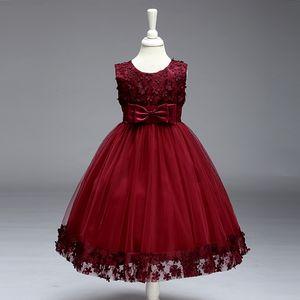 2019 Vestidos Da Menina de Flor Do Vintage Linda Borgonha Roupas de Marfim Menta Com Laço Arco Tutu Vestidos de Baile Em Estoque Barato