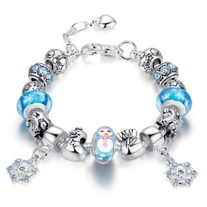 Newest Charm Bracelets with Blue Murano Glass Beads & Snowman Silver Charms & Snowflake Dangles BL097