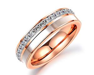 Europa und die Vereinigten Staaten Schmuck Paar Titan Stahl Ring schwarz Diamantschalen Doppelring Männer und Frauen Ring Festival Geschenk