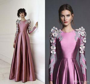 Chana Marelus Lila Fleck 3D Floral Langarm Abendkleider 2018 Luxus Kristall Marokkanischen Kaftan Dubai Arabische Gelegenheit Prom Kleider