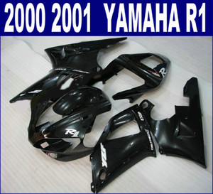 Free shipping ABS fairing kit for YAMAHA 2000 2001 YZF R1 YZF1000 00 01 all glossy black plastic fairings set RQ49 + 7 gifts