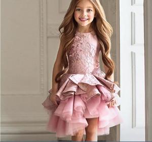 Real Fotos Hohe Qualität Rosa Prinzessin Hochzeit Blumenmädchen Kleider 2018 Tutu High Low Kommunion Mädchen Geburtstag Kleider