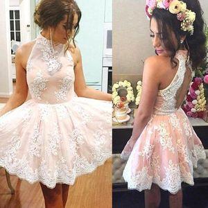 Sparkly Curto Lace Halter Vestidos Homecoming Keyhole Backless A Linha Prom Coquetel Vestidos Vestidos de Formatura 8 ª Classe