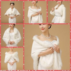 На складе Дешевой искусственного меха Люкс Обертывание Cape Bridal куртка пальто для зимы свадебных аксессуаров Белого платка невеста Bridesmaid партии 2016 год