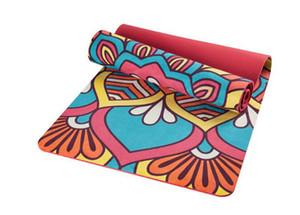 Camurça reversível com esteira de ioga TPE aptidão dupla lados utilizável seco e molhado anti slip print 5mm sênior mat