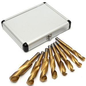 8PCS Twist Drill Bit Sets Herrero 14 mm a 25 mm de titanio HSS Acero de alta velocidad para taladros Metaldrilling Herramientas Precio al por mayor