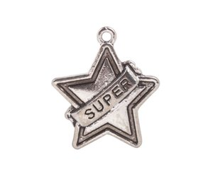 20 PCS 패션 앤티크드 실버 메탈 SUPER Star Charms # 92254