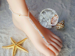 swarovski elements beach wedding Barefoot sandals foot jewelry anklets chain jewelry gifts LK-SW7542