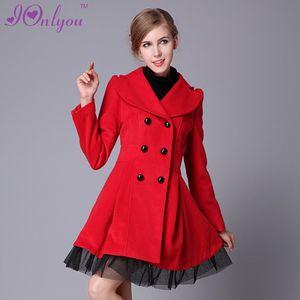 Al por mayor-Mujeres de invierno de invierno de doble botonadura Trench Coat Peacoat vestido largo chaqueta de abrigo blanco rojo