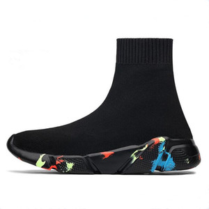 Işık Yüksek Üst Yeni Nefes Uçan Çorap Ayakkabı Spor Erkek Kadın Çiftler Streç Nesil Sneakers Düz Koşu Ayakkabıları Sneaker