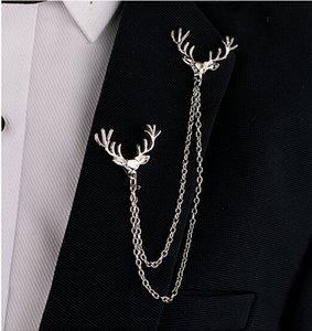 Hot Deer Kopf Elch Gold / Silber Tipps Double Link Ketten Quasten Kragen Pins Brosche Clip Pin Broschen