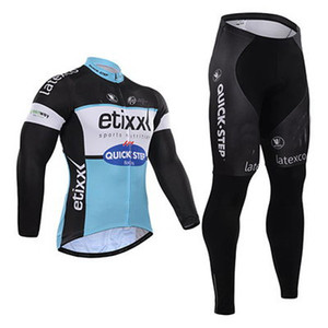 WINTER FLEECE THERMAL CYCLING LONG JERSEY ROPA CICLISMO + PANTALONES 2015 ETIXX QUICK STEP PRO TEAM BLACK BLUE Q13 3D GEL PAD-PICK TALLA: XS-4XL