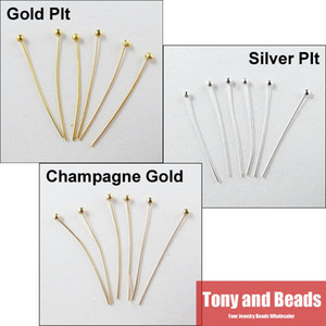 Wholesale-(300Pcs=1Lot ! ) Free Shipping Jewelry Necklace Earring Finding Copper Ball Head Pins 20MM Gold Silver and Champagne Plated EW21