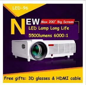 سعر المصنع الجديد LED96 5500 لومينز فيديو hdmi usb التلفزيون 1280x800 كامل hd 1080 وعاء المسرح المنزلي 3d led العارض projetor proyector متعاطي المخدرات