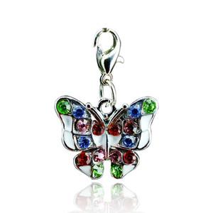 Новое поступление! Мода Изысканный цинковый сплав Rhinestone Butterfly Lobster Clasp Keyring Key Charms Jewelry