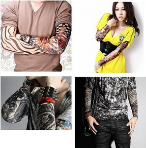8pcs lot Nylon Stretchy Fake Tattoo UV basketball Arm Sleeves warmers manguito Stockings 8 styles mixed