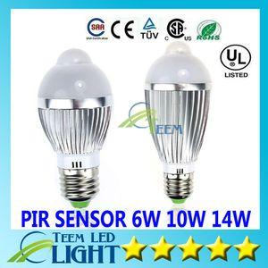 Luz LED E27 6W 10W 14W 85V-265V Control de movimiento Sensor PIR Iluminación led Bola de LED Bombilla Globo de plata Proyector a prueba de agua downlight