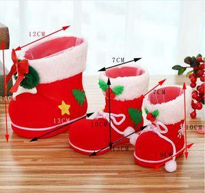 2017 Hot sale Festivo Decoração de Natal Flocking botas doces botas Doces Saco Pequeno tamanho médio grande Frete Grátis