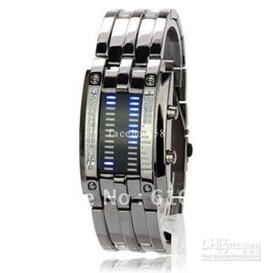 Toptan Satış - 28 LED Süper Mavi Işık Kare Kadran Matrix Paslanmaz Çelik Kol Saati - Gri,