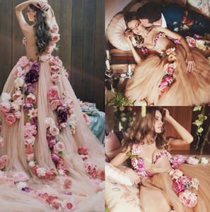 Jolie Une Épaule Fée Pays Robe De Mariée De Luxe À La Main Fleur Plage Balayage Train Coloré Bohême Robes De Mariée Robes De Mariée