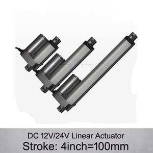 Free Shipping! DC 12V 24V 4inch 100mm electric linear actuator , 1000N 100kgs load 10mm s speed linear actuators without mounting brackets