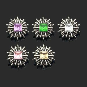 Vente chaude Interchangeable Fleur 030 Strass Métal Snap Boutons Fit 12mm Snap Bouton Bracelets Boucles D'oreilles collier Pour les femmes