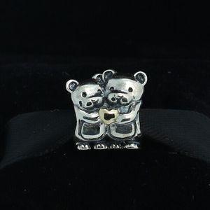 925 Sterling Silver 14K Real Gold Bear Hug Charm Bead Se adapta a European Pandora Jewelry Pulseras Collares