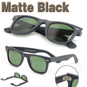 새로운 매트 블랙 선글라스 망 태양 안경 유리 렌즈 판 선글라스 높은 품질의 안경 안경 자외선 보호 안경 50/54 반짝이 2009