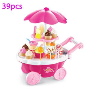 Wholesale- neue heiße 39 PC-Simulation Kleine Carts Mädchen Mini-Süßigkeit Wagen Ice Cream Shop Supermarkt Kinderspielzeug Spielen Home Baby Spielzeug