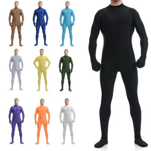 Wholesale-New Sexy Lycra Spandex Zentai Body Suit Bodysuit Headless No Hood Catsuit / Back Zipper Onesies Leotard