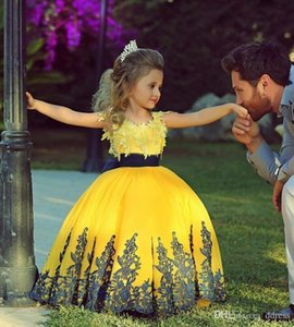 Floor Length Yellow Elegant Ball Gown Lace Pageant Dresses For Little Girls Princess Appliques Kids Party Gowns Christmas Gift