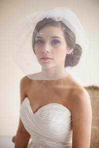 Son çıkan Pinterest Blusher Veils Gelin Veils Fildişi Beyaz Tül Veils Gelin Aksesuarları Boncuk 2015 Düğün Iyilik