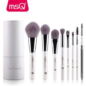 Msq Makyaj Fırçalar Profesyonel Zodyak Kozmetik Fırça Seti 8 adet Yüksek Kalite Sentetik Saç Beyaz Silindir Fırça Seti ile