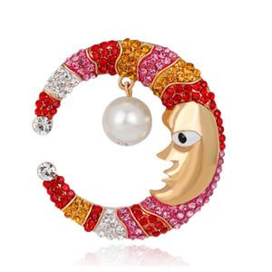 Nette Karikatur-Gesichts-Mond-Broschen-Perlen-Stifte Mehrfarbenrhinestone-Luxuskleid-Corsagen-Brosche Gold / Silber überzogener Modeschmuck
