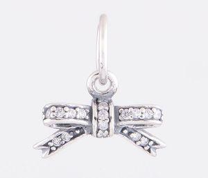 Moda 925 Sterling Silver Bead Sparkling Bow Oscilar Charme Europeu DIY Resultados Da Jóia Se Encaixa Para Pandora Encantos Pulseira